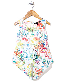 Gini & Jony Sleeveless  Party Top Floral Print - Off White