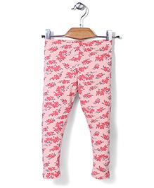 Gini & Jony Full Length Floral Print Elasticated Leggings - Pink