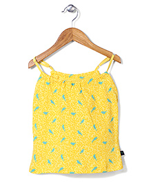 Palm Tree Singlet Printed Top - Yellow