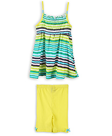 Lilliput Kids Stripe Tunic Top And Shorts - Green Yellow