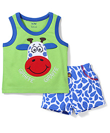 Wow Contrast Neckline T-Shirt And Shorts Giraffe Embroidery - Green Blue