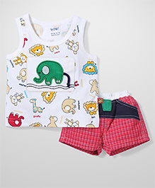 Wow Sleeveless T-Shirt And Shorts Elephant embroidery - White Red