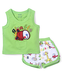 Wow Sleeveless T-Shirt and Shorts Set Giraffe Patch - Green and White
