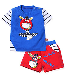 Wow T-Shirt and Shorts Set Zebra Print - Blue and Red