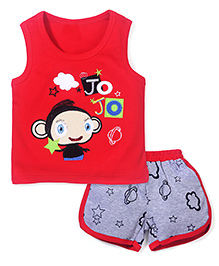Wow Sleeveless T-Shirt and Shorts Set Jo Jo Print - Red and Grey