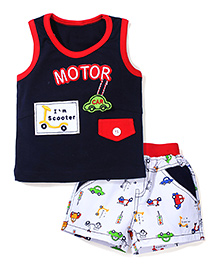 Wow Sleeveless T-Shirt and Shorts Set Motor Print - Blue and White