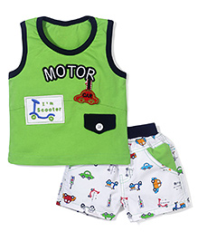 Wow Sleeveless T-Shirt and Shorts Set Motor Print - Green and White