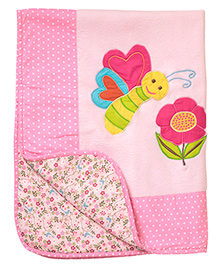 The Button Tree Bee Print Baby Blankets - Pink