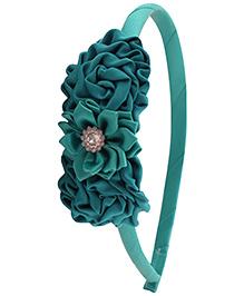 Pikaboo Hair Band Floral Applique - Sea Green