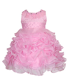 Party Princess Pearl Embellished Dress - Pink