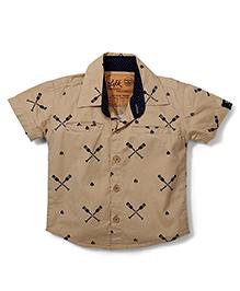 Little Kangaroos Half Sleeves Shirt Crossed Oars Print - Brown