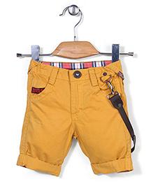 Little Kangaroos Jamaican Shorts With Biker Belt - Yellow
