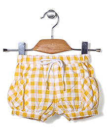 Little Kangaroos Check Shorts - Yellow And White