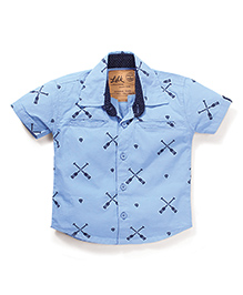 Little Kangaroos Half Sleeves Printed Shirt - Sky Blue