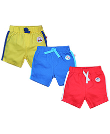 FS Mini Klub Shorts Pack of 3 Multi Print - Green Red Blue