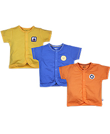 FS Mini Klub Half Sleeves Vest Set of 3 - Orange Blue Yellow