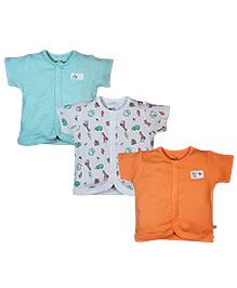 FS Mini Klub Half Sleeves Vest Set of 3 - Orange White Green