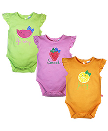 FS Mini Klub Short Sleeves Onesies Set of 3 - Pink Green And Yellow