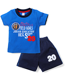 Paaple Half Sleeves T-Shirt And Shorts Set Field Goals Print - Blue