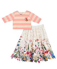 Mignon Stripe Top And Crochet Skirt - Multicolor