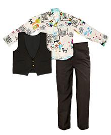 Mignon Stylish Boys Printed Shirt, Waistcoat & Pants - Black
