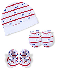 Babyhug Fish And Stripe Print Cap Mittens Booties Set - Red Blue
