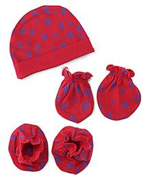 Babyhug Cap Mittens And Booties Set Heart Design - Red