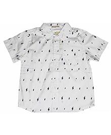 Piperz Half Sleeves Shirt Thunderbolt Print - White