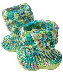 My World Of Crochet By Neelam Crochet Boots - Green