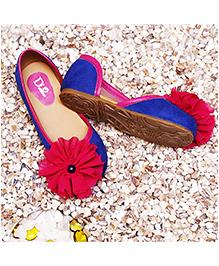 D'chica Little Diva Ballerinas With Flower - Blue & Pink