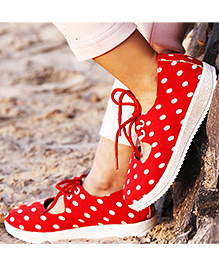 D'chica Polka Love Tie Up Shoes - Red
