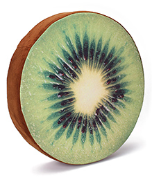 Dimpy Stuff Kiwi Fruit Shaped Cushion With Support Foam - Green & Brown