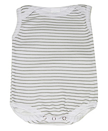 Kiwi Sleeveless Onesies Stripes - White & Grey