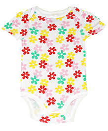 Kiwi Short Sleeves Onesies Floral Print - Multicolor