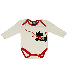 Kiwi Full Sleeves Onesies Puppy Embroidery - Cream