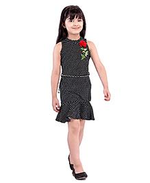 Tiny Baby Polka Dot Dress With Belt - Black