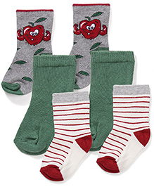 Mustang Socks Set of 3 - Grey Green And White