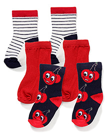 Mustang Socks Set of 3 - Navy Red And White