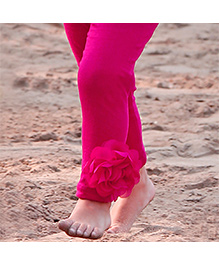 D'chica A Pretty Flower On The Side Leggings - Dark Pink