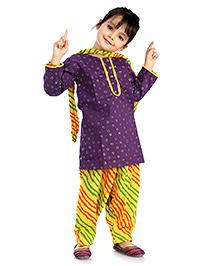 Little Pockets Store  Glitter Print Kurti With Patiyala Set - Purple