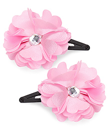 Hopscotch Snap Clips Stone On Flower - Pink And Black