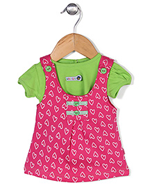 Wow Girls Dungaree Skirts with Top Hearts Print - Pink and Green
