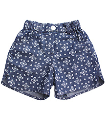 Campana Printed Curved Hem Shorts - Blue