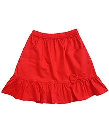 Campana Skirt With Bow Applique - Red