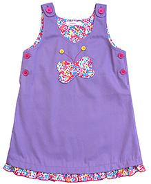 Campana Sleeveless Butterfly Applique Pinny Dress - Purple