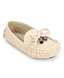 Cute Walk by Babyhug Loafer Shoes Tie Knot Lace - Cream