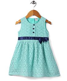 Babyhug Sleeveless Frock Hakoba Embroidery - Green