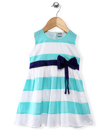 Babyhug Sleeveless Striped Frock With Bow Applique - Green And White