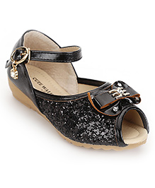 Cute Walk by Babyhug Peep Toes Bow And Sequin Detail - Black