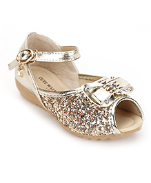 Cute Walk by Babyhug Peep Toes Bow And Sequin Detail - Golden